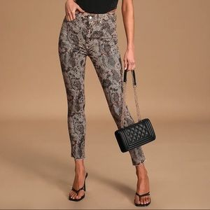 FREE PEOPLE Raw High-Rise 2 faced Snake Print Jean